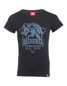 Woman black t-shirt baskonia's shield_image