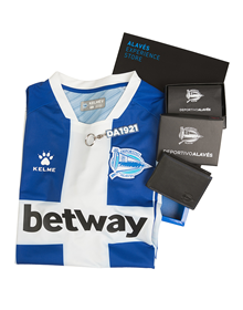Pack premium Alavés: Home jersey + Wallet + Keychain + Pin_image