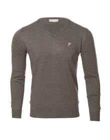 Goat grey v-neck knitted sweater_image