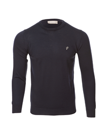 Goat navy round neck knitted sweater_image