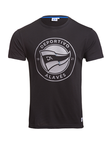 Deportivo Alavés black casual t-shirt grey new badge_image