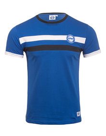Deportivo Alavés blue navy t-shirt with blue and white stripes MO 7_image